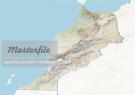 Maroc, carte de Relief avec bordure et masque