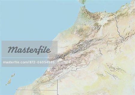 Maroc, carte de Relief avec bordure