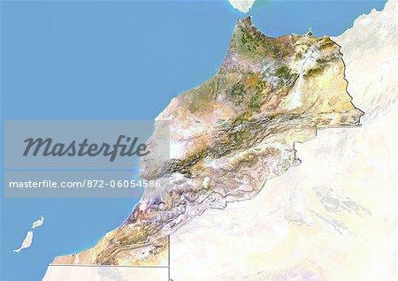 Maroc, Image Satellite avec effet de relief, avec bordure et masque