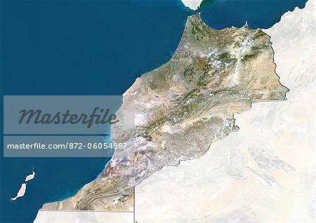 Maroc, True Image couleur Satellite avec bordure et masque