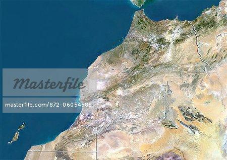 Maroc, Image Satellite couleur vraie avec bordure
