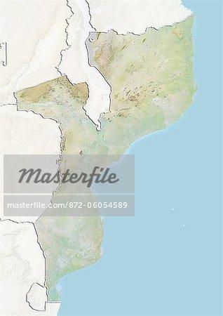 Mozambique, carte de Relief avec bordure et masque