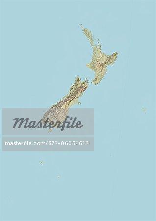 Nouvelle-Zélande, carte en Relief
