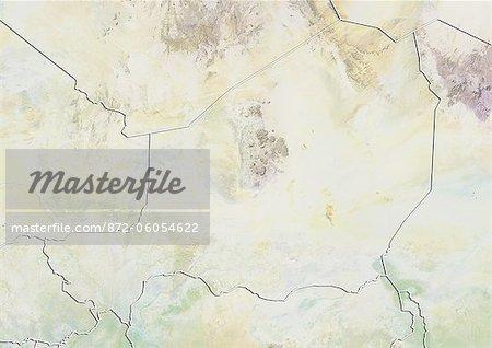 Niger, carte de Relief avec bordure