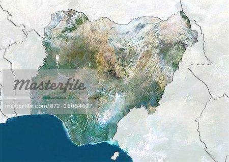 Nigéria, True Image couleur Satellite avec bordure et masque