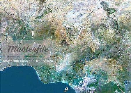 Nigéria, Image Satellite couleur vraie avec bordure