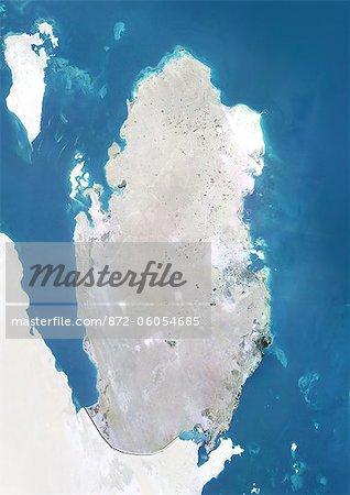 Qatar, True Image couleur Satellite avec bordure et masque