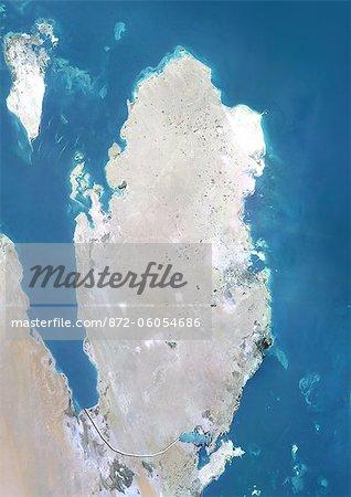 Qatar, Image Satellite couleur vraie avec bordure