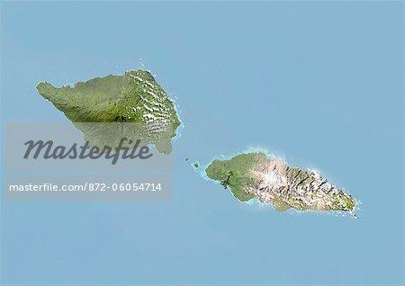 Samoa, Image Satellite avec effet de relief