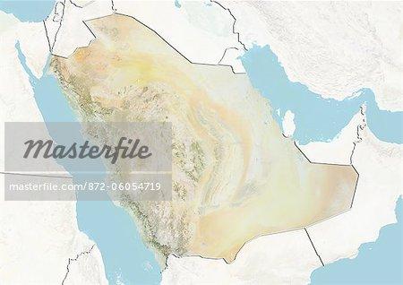 Carte Relief avec masque et de la frontière de l'Arabie saoudite,