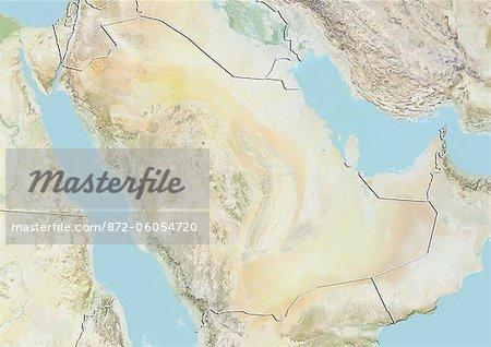 Carte Relief avec la frontière de l'Arabie saoudite,