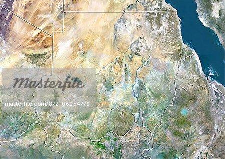 Soudan, Image Satellite couleur vraie avec bordure