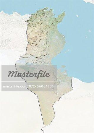 Tunisie, carte de Relief avec bordure et masque