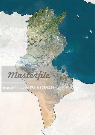 Tunisie, True Image couleur Satellite avec bordure et masque