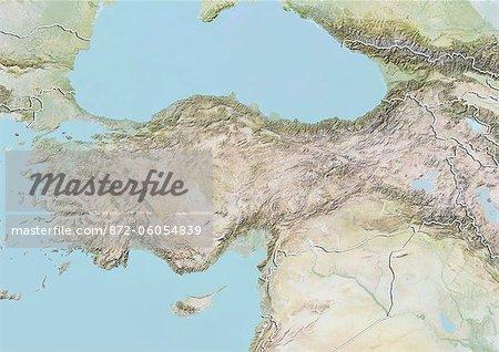 Turquie, carte de Relief avec bordure