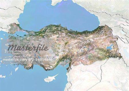 Turquie, Image Satellite avec effet de relief, avec bordure et masque