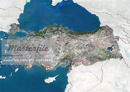Turquie, True Image couleur Satellite avec bordure et masque