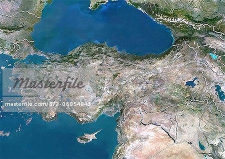 Turkey, True Colour Satellite Image With Border