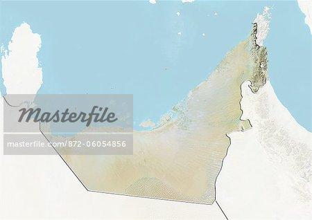 Émirats Arabes Unis, carte de Relief avec bordure et masque