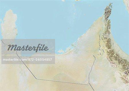 Émirats Arabes Unis, carte de Relief avec bordure
