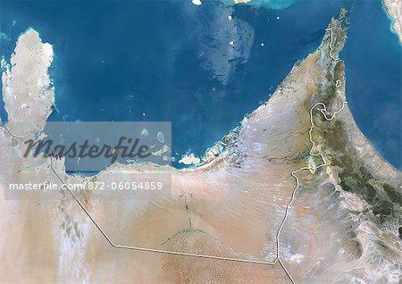 Émirats Arabes Unis, Image Satellite couleur vraie avec bordure