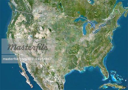 Aux États-Unis, Image Satellite couleur vraie avec bordure