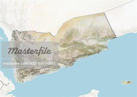 Yémen, carte de Relief avec bordure et masque