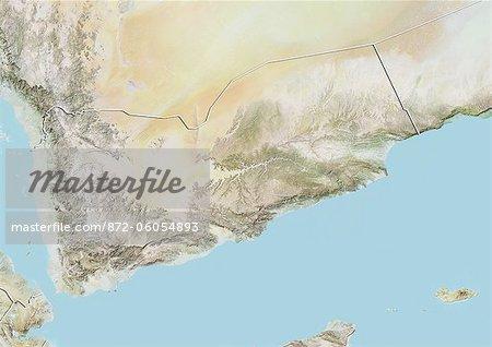Yémen, carte de Relief avec bordure