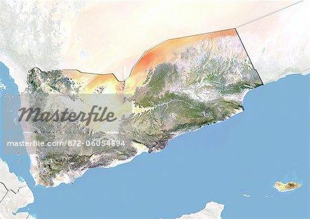 Yémen, Image Satellite avec effet de relief, avec bordure et masque