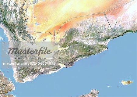 Yémen, Image Satellite avec effet de relief, avec bordure