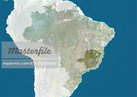 Brazil and the State of Minas Gerais, True Colour Satellite Image