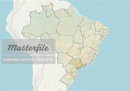 Carte Bresil Relief.Bresil Et L Etat De Sao Paulo Carte En Relief Photographie De