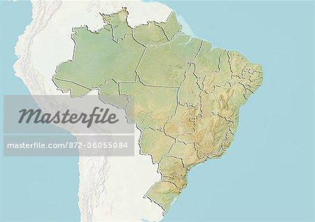 Carte Bresil Relief.Bresil Carte En Relief Avec Les Frontieres Des Etats