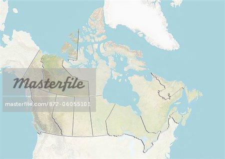 Le Canada et les territoires du Nord-Ouest, le plan-Relief