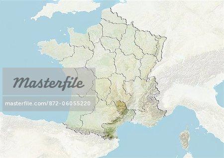 France et la région du Languedoc-Roussillon, carte en Relief