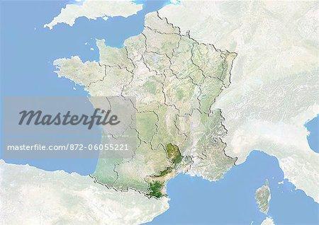 France et la région du Languedoc-Roussillon, Image Satellite avec effet de relief