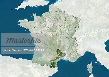 France et la région du Languedoc-Roussillon, True Image Satellite en couleurs