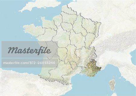 France et la région de Provence-Alpes-Cote d'Azur, plan-Relief