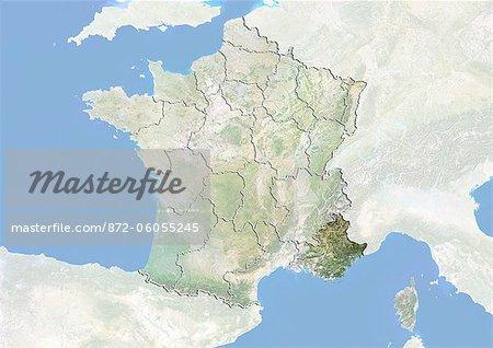 France et la région de Provence-Alpes-Cote d'Azur, Image Satellite avec effet Bump