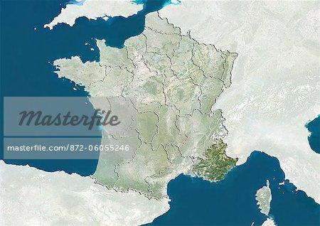 France et la région de Provence-Alpes-Cote d'Azur, True Image Satellite en couleurs