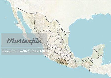 Le Mexique et l'état de Guerrero, carte en Relief