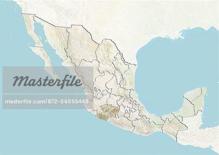 Le Mexique et l'état de Michoacán, carte en Relief