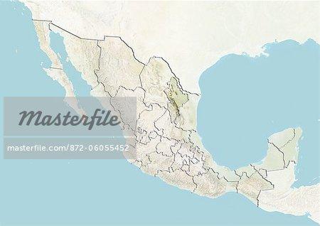 Le Mexique et l'état de Nuevo Leon, carte en Relief