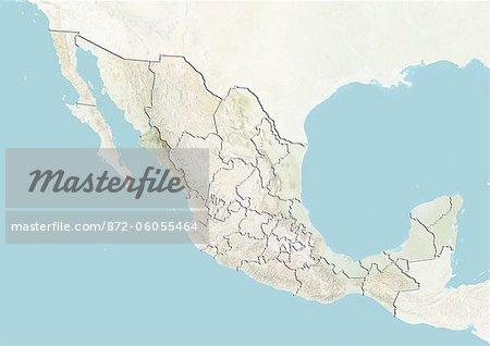 Le Mexique et l'état de Sinaloa, carte en Relief