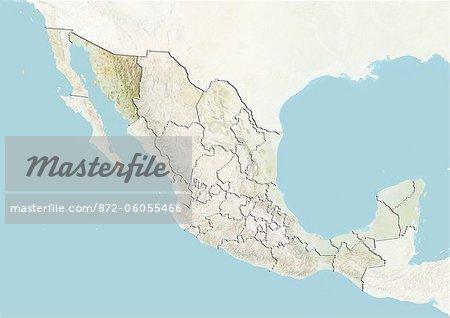 Le Mexique et l'état de Sonora, carte en Relief