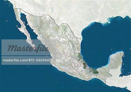 Le Mexique et l'état de Veracruz, True Image Satellite en couleurs