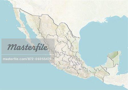 Le Mexique et l'état du Yucatan, le plan-Relief