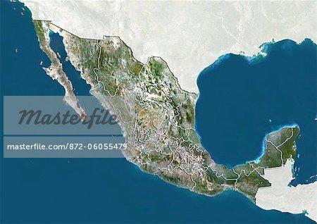 Mexique, True Image Satellite couleur avec les frontières des États membres