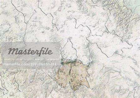 Etat de Morelos, au Mexique, carte en Relief