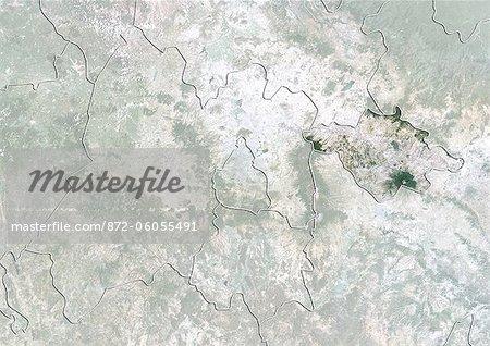 État de Tlaxcala, au Mexique, True Image Satellite en couleurs